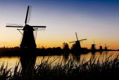 Kinderdijk 1. Sunrise at Kinderdijk windmill park, Holland Stock Photos