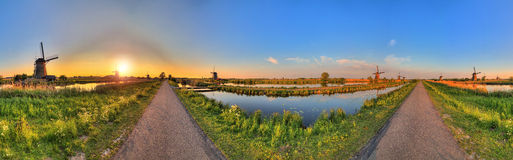 360 Kinderdijk Fotografia de Stock Royalty Free