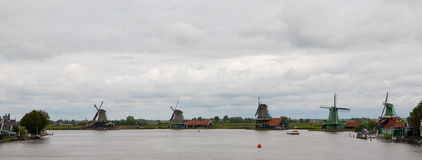 Kinderdijk Dutch Windmill Landscape Royalty Free Stock Images