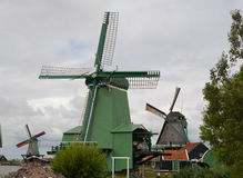 Kinderdijk Dutch Windmill Trio Royalty Free Stock Photo