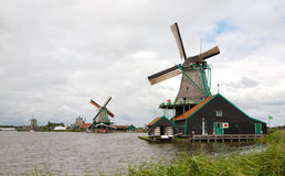 Kinderdijk Dutch Windmills along River Royalty Free Stock Image