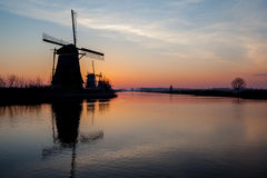 Kinderdijk i holland Arkivfoto