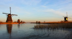 Kinderdijk i vinter royaltyfri foto