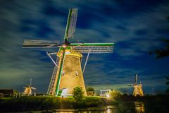 Kinderdijk on the Illumination Week stock images