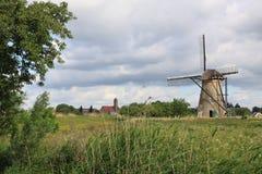 Kinderdijk landskap Fotografering för Bildbyråer