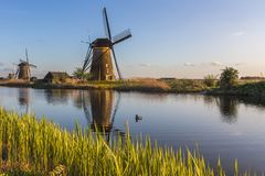 Kinderdijk Molenwaard Holland The Netherlands Europe del sud fotografia stock libera da diritti