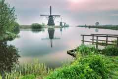 Kinderdijk Molenwaard Holland The Netherlands Europe del sud immagine stock libera da diritti