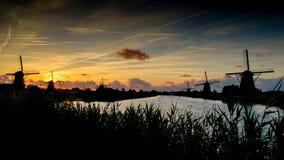 Kinderdijk. At Netherlands at sunset Stock Image