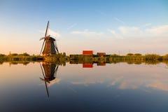 Kinderdijk reflexion Royaltyfria Bilder