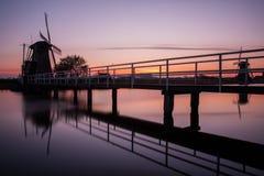 Kinderdijk solnedgång Royaltyfri Foto