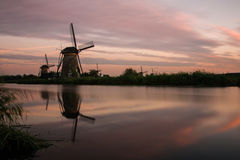 Kinderdijk solnedgång Royaltyfri Fotografi