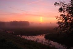 Kinderdijk soluppgång Arkivbilder