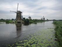 Kinderdijk, South Holland, The Netherlands. Historic windmills line the canals at world heritage site Kinderdijk in South Holland Stock Photo