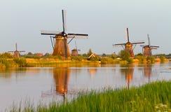 Kinderdijk sunset reflection Stock Images