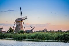 Kinderdijk in the sunset royalty free stock photography