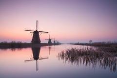 Kinderdijk väderkvarnar på soluppgång Royaltyfri Fotografi