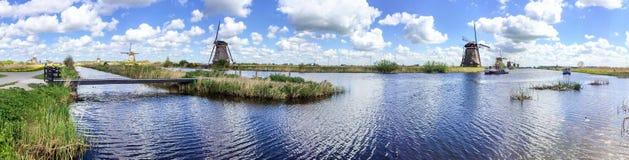 Kinderdijk wiatraczki, panoramiczny widok - holandie Zdjęcia Royalty Free