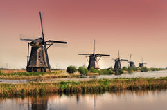 Kinderdijk-Windmühlen Lizenzfreies Stockbild