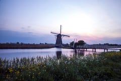 Kinderdijk windmill stock images