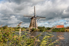 Kinderdijk Windmill and Canal Stock Photography