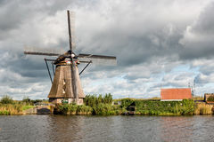Kinderdijk Windmill and Canal Royalty Free Stock Photo