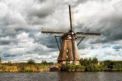 Kinderdijk Windmill and Canal Royalty Free Stock Photography