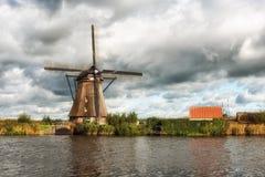Kinderdijk Windmill and Canal Stock Photos
