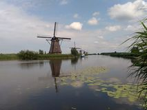 Kinderdijk windmill. Dutch windmill in Kinderdijk, UNESCO site, Netherlands Stock Image