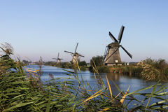 Kinderdijk Windmills on the canal Royalty Free Stock Images