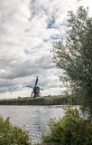 Kinderdijk Windmills and Canal Stock Photography