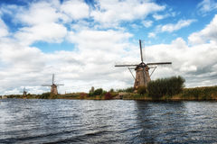 Kinderdijk Windmills and Canal Royalty Free Stock Image
