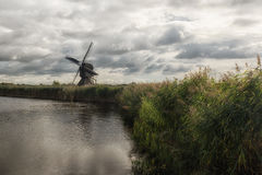 Kinderdijk Windmills and Canal Stock Image