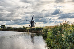 Kinderdijk Windmills and Canal Stock Images