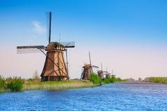Kinderdijk windmills and canal Royalty Free Stock Photos