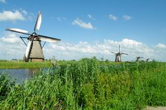 Kinderdijk windmills. Historic windmills in kinderdijk village in netherlands Royalty Free Stock Photo