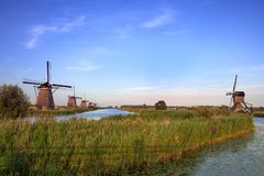 Kinderdijk windmills in the netherlands in a row stock photos