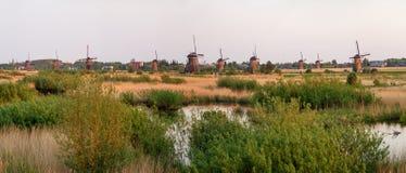 Kinderdijk windmills panorama Stock Photo