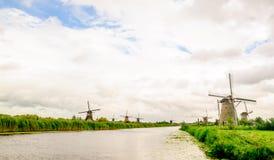Kinderdijk windmills in polder landscape in Netherlands Stock Photos