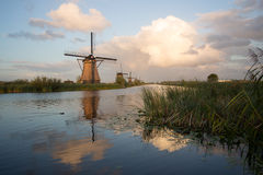 Kinderdijk windmills unesco heritage netherlands. Windmills unesco heritage netherlands summer traveling tourism Royalty Free Stock Photography