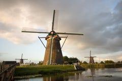 Kinderdijk windmills unesco heritage netherlands. Windmills unesco heritage netherlands summer traveling tourism Royalty Free Stock Photos