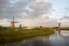 Kinderdijk windmills unesco heritage netherlands Stock Photos