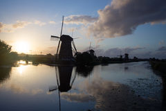 Kinderdijk windmills unesco heritage netherlands. Windmills unesco heritage netherlands summer traveling tourism Royalty Free Stock Photo