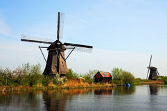 Kinderdijk windmills. UNESCO Heritage site - Kinderdijk,  a village which drains its polder with 19 windmills built around 1740. It is the  largest group of old Stock Photo