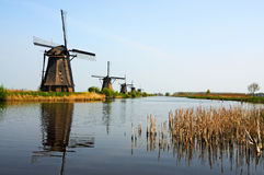 Kinderdijk windmills. UNESCO Heritage site - Kinderdijk,  a village which drains its polder with 19 windmills built around 1740. It is the  largest group of old Stock Photos