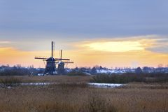 Kinderdijk Windmills in Winter Royalty Free Stock Photo