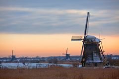 Kinderdijk Windmills in Winter Stock Photos