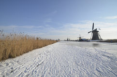 Kinderdijk in the winter Royalty Free Stock Photo
