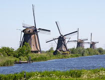 Kinderdyk windmills Holland Royaltyfri Fotografi