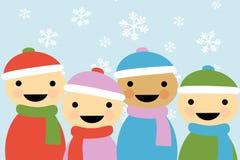 Kinderen 2 van het Beeldverhaal van de winter Royalty-vrije Stock Afbeelding