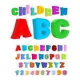 Kinderen ABC Grote brieven in jonge geitjesstijl babysalfabet 3D F Stock Foto's